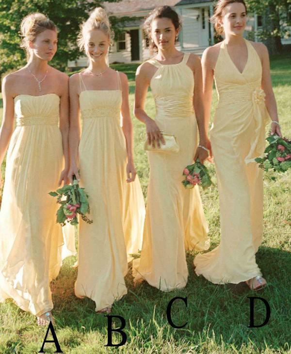 Bright Yellow Bridesmaid Dresses Country Style Dress To