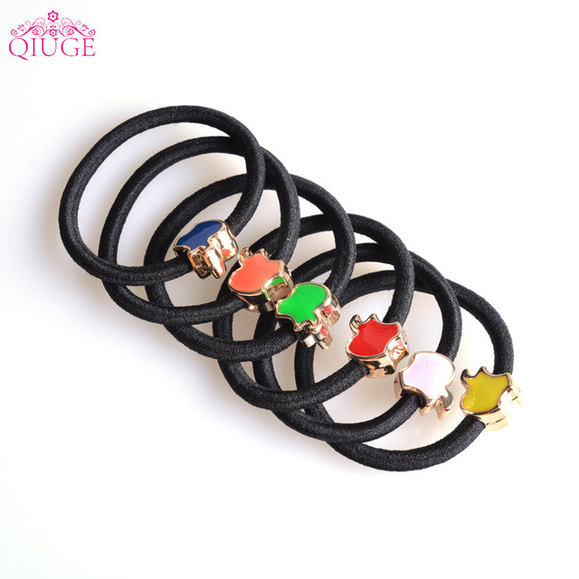 10pcs Qiuge Korean Black Thick Rubber Scrunchie Hair Bands Color Apple  Charm Hair Ties Plastic Elastic Rope Holder For Girl Kids f210f538cf4
