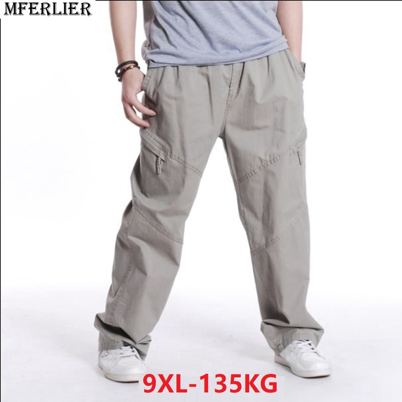 Spring Men Casual Cargo Pants Pocket Plus Size 6XL 7XL 8XL 9XL Big Size Zipper Military Pants Summer Out Door Straight Trousers