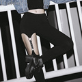 Harajuku Punk Gothic Leather Strap Women Legging Pants Hollow Rivet Garter Hanging Lenggings