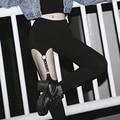Harajuku Punk Gothic Leather Strap Women Legging Pants Hollow Rivet Garter Hanging Lenggings