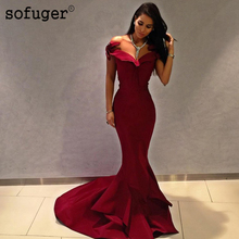 Burgundy Satin Court Special Occasion Dress Bridesmaid Dresses Sweetheart Off The Shoulder Wedding Party Formal