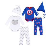 Brand Romper Set Fashion Cartoon Roupa De Bebe Bodysuit Hat Pant 3pcs Baby Boy Clothing Set
