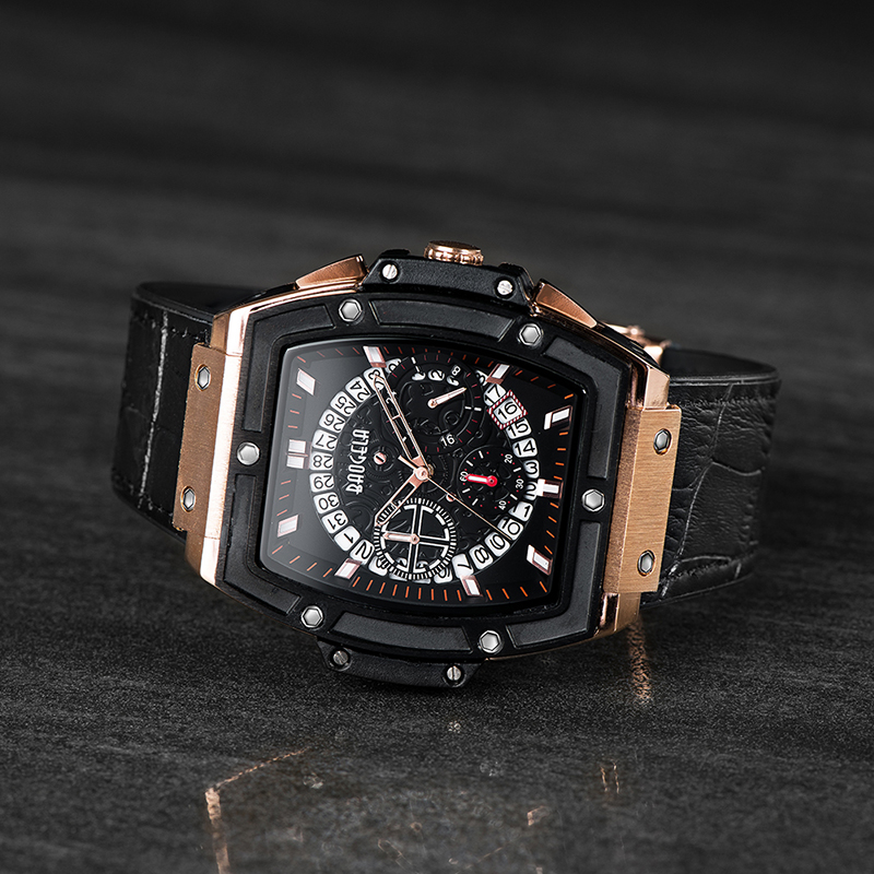 Image 2 - BAOGELA Brand Fashion Mens Sports Waterproof Calendar Wrist Watch Square Multifunction Silicone Band Mens Watch-in Quartz Watches from Watches