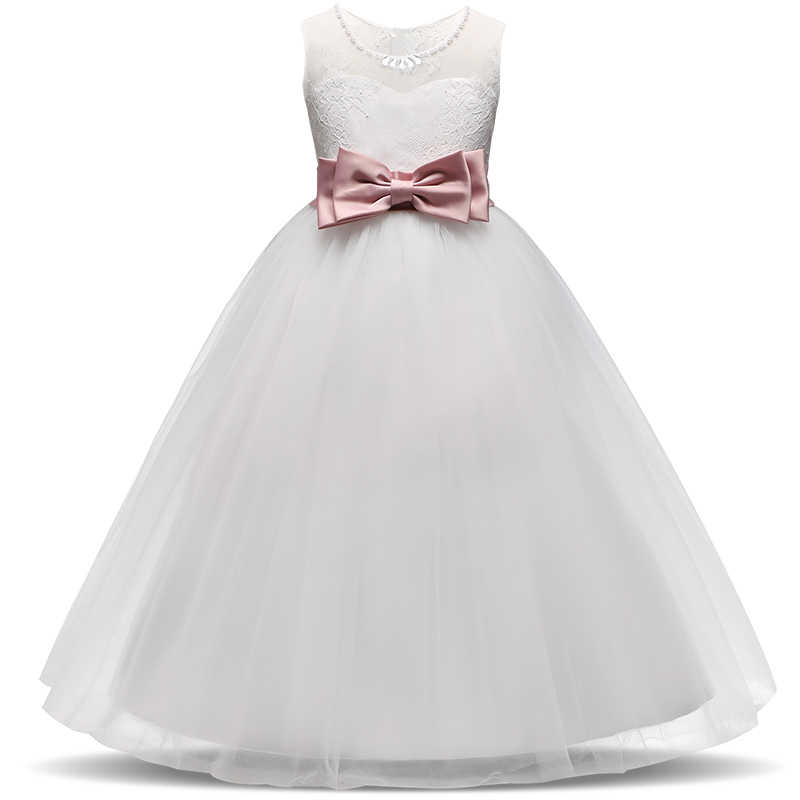 Formal Elegant Dress for Girls First Communion Graduation Ceremony White  Evening Event Wedding Gown 14ys Teenager 6b3ae3df07e0
