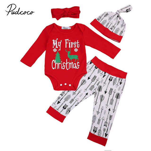 124f550a0 4PCS Set My First Christmas Newborn Baby Boy Girl Clothes Top Romper Arrow  Pant Headband Hat Outfit Children Clothing 0-24M