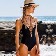 950dd449d9c Lace Up One Piece Swimsuit Sexy Brazilian Push Up Swimwear Monokini Bandage  Trikini Strappy Bathing Suit Women's Swimming Suit