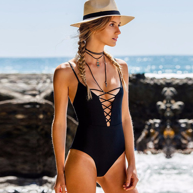 f3afb264c19 Lace Up One Piece Swimsuit Sexy Brazilian Push Up Swimwear Monokini Bandage  Trikini Strappy Bathing Suit Women s Swimming Suit