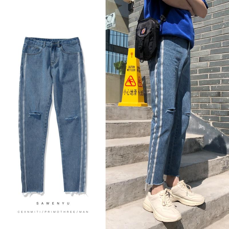 2018 New Men Fashion Casual Blue Side Stripe Holes Ankle-length Cowboy Trousers Stretch Slim Fit Jeans Homme Denim Pants S-2XL