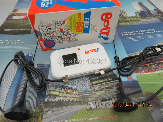 New Huawei EThick battery 3560mAh 5372s Pocket Cat4 LTE 4G 3G WifI 2.4 & 5GHz UNLOCKED router Hotspot & 2 x 5dBi Antenna - white