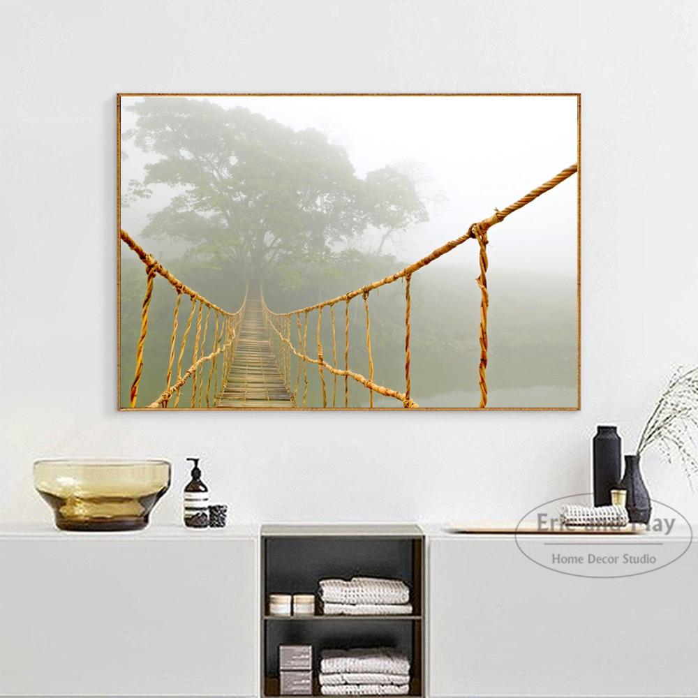 Мост и ландшафт с морскими волнами Печать на холсте картина плакат Настенная картина для Гостиная украшения домашнего декора без рамки