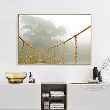 Ponte e onda do mar paisagem lona arte impressão pintura cartaz da parede fotos para sala de estar decoração casa sem moldura