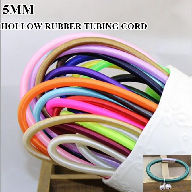 High quality 20colors 5mm Hollow Rubber Tubing Cord for cover wire jewellery necklace bracelet making free shipping 9m