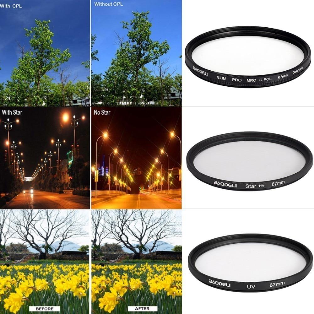 72 BAODELI Dslr Mrc Filtro One Set CONCEPT UV CPL STAR Lens Filter 49 52 55 58 62 67 72 77 82 mm For Camera Cannon Nikon D3500 Sony (3)