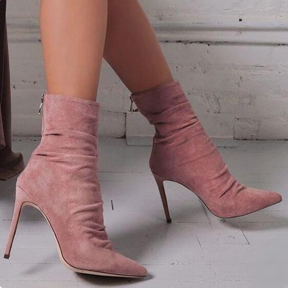 As Zipper Chaussures Bottes Couleur Talons Cheville Femmes as Hauts Picture Rose Personnalisé Mode Bout Picture Stretch Solide Nouveautés Pointu À wIqa7X8