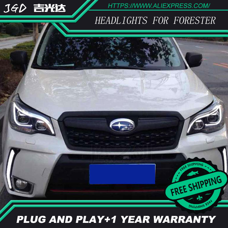Auto Part Style LED Head Lamp for Subaru Forester 2013-2015 led headlights drl hid Bi-Xenon Lens low beam auto part style led head lamp for nissan x trail led 14 15 headlights for x trail drl h7 hid bi xenon lens angel eye low beam