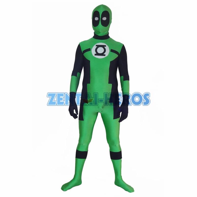 Round eyes Green Lantern Deadpool Custom Superhero Costume Halloween Party Cosplay Sexy Costumes Catsuit Zentai Suit
