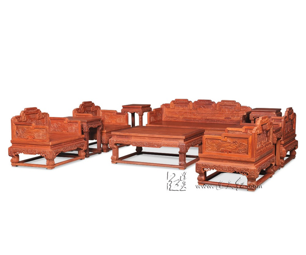 New Classical Chinese Style Sofa Bed Furniture Set Royal Rosewood Triple Chair Sunit Solid Wood Tea Table Antique Wooden Carving classical rosewood armchair backed china retro antique chair with handrails solid wood living dining room furniture factory set