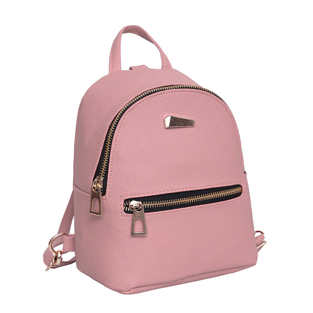c917fa201213 Fashion Women PU Leather Mini Backpack College Shoulder Satchel School  Rucksack Ladies Girls Casual Travel Bag 4 Colors Popular-in Backpacks from  Luggage ...