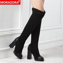 Женские сапоги выше колена MORAZORA, черные сапоги из флока без застежки на платформе и высоком каблуке, вечерние сапоги для выпускного вечера, осень 2020