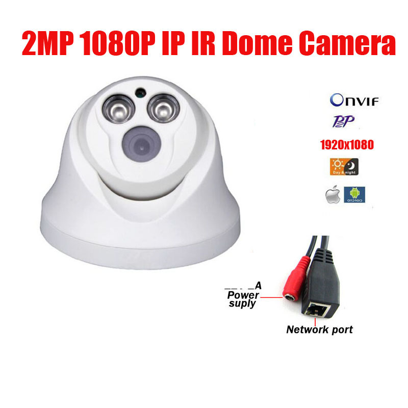 Free Shipping 2MP IP Dome camera 2pcs Array LED 1080P CMOS HD IR Camera Infrared Night Vision CCTV CAM