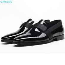 Patent Leather Men Office Shoes Black Oxford Shoes Big Men Genuine Leather Dress Shoes Slip On Business Formal Shoes