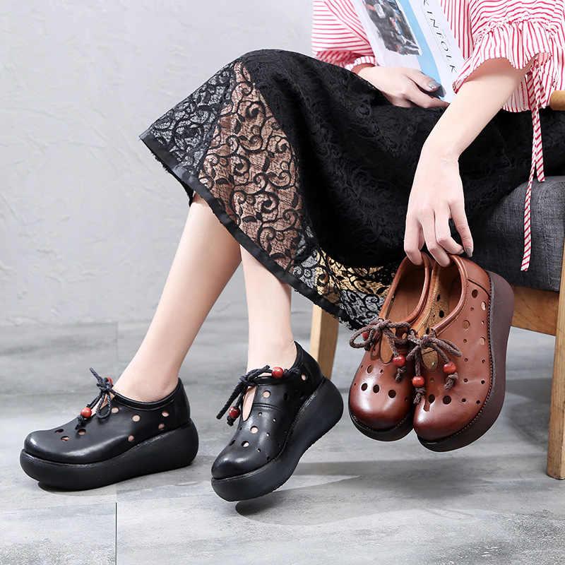 SONDR người phụ nữ dép mùa hè 2019 nền tảng đế xuồng nữ giày nữ phối ren phối lưới bi cách NA koturnie Retro dân tộc thời trang thanh lịch bayan ayakkabi