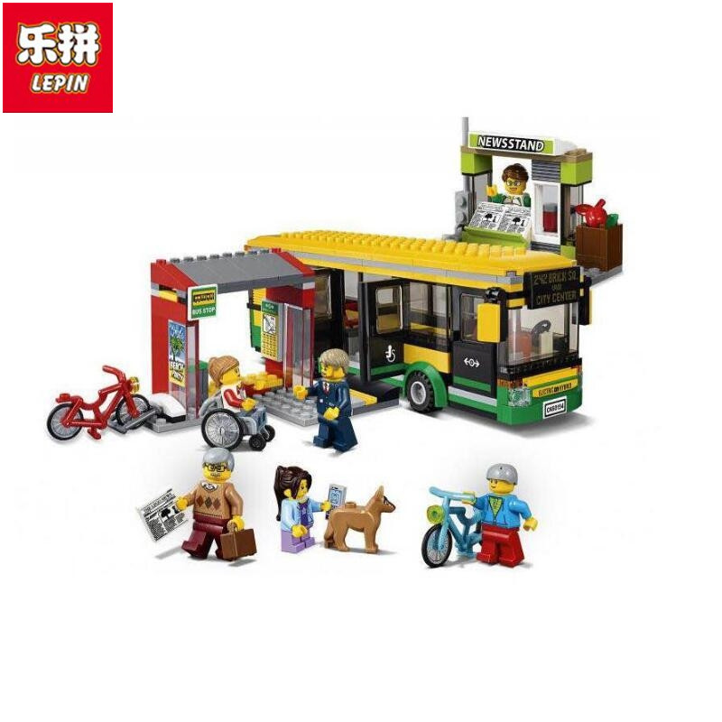 Lepin 02078 Genuine City Series The Bus Station Set 60154 Building Blocks Bricks Kids Educational Toys As Boys Christmas Gift