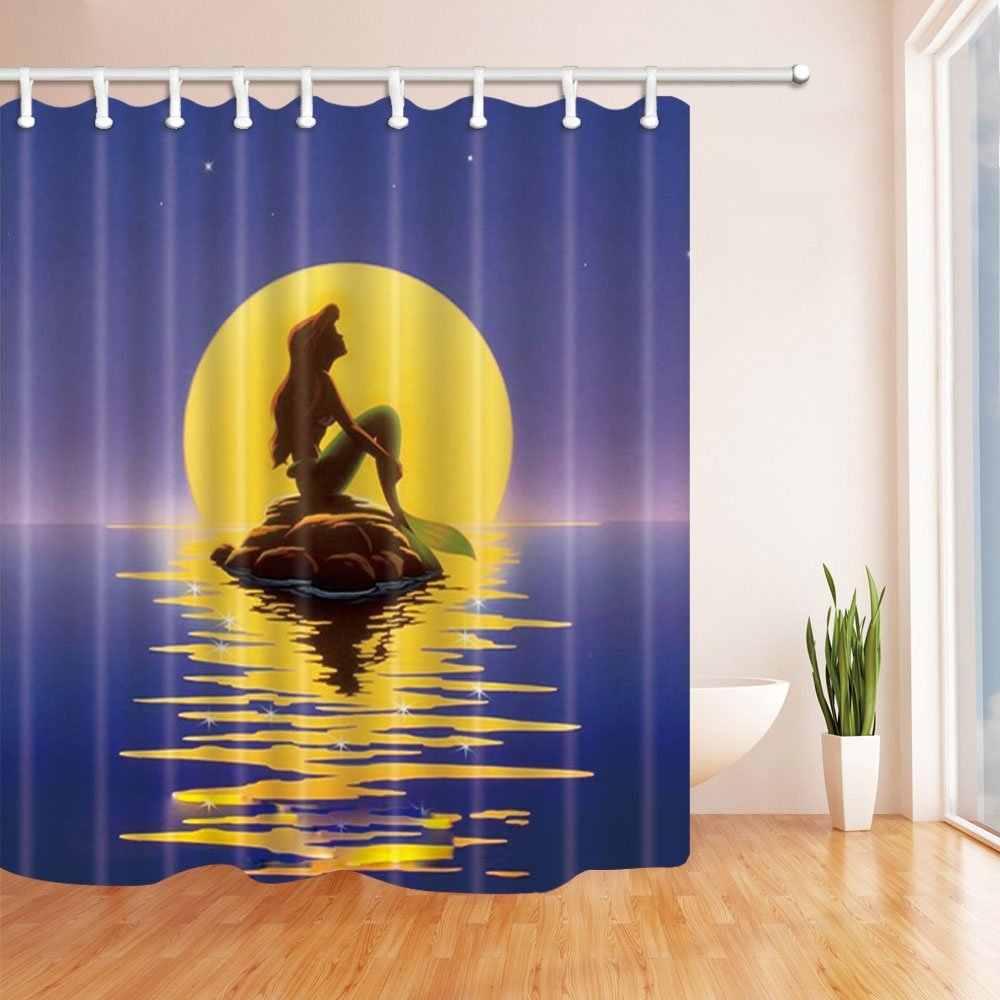 เทพนิยายตกแต่ง,การ์ตูนเมอร์เมดนั่งบนหินในแสงจันทร์ผ้าโพลีเอสเตอร์ผ้าม่านอาบน้ำกันน้ำ,ม่านอาบน้ำ