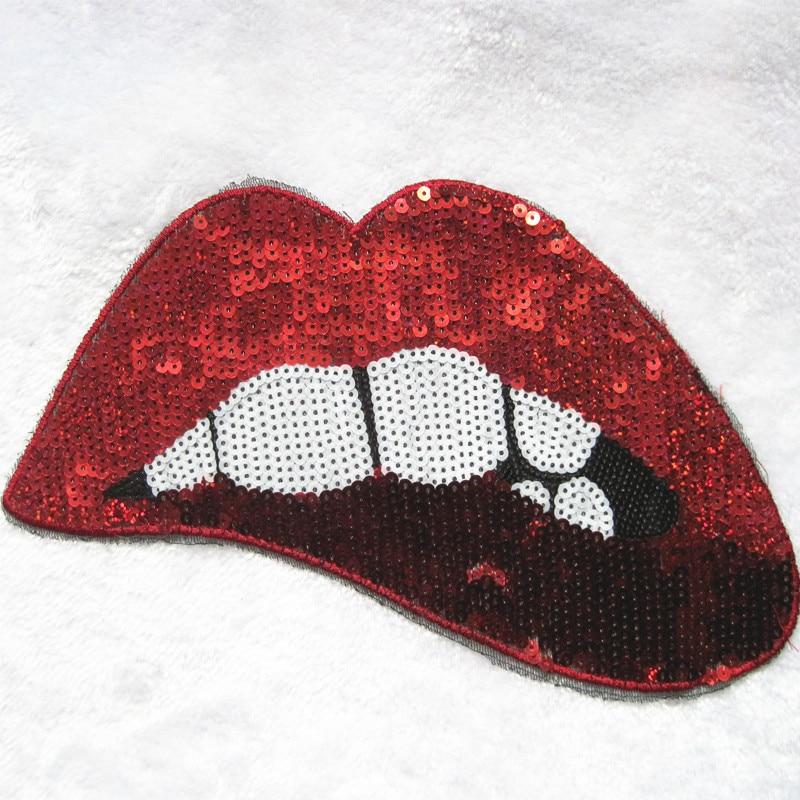 1 Stücke bestickte kleidung nähen auf flecken lippenstift roten - Kunst, Handwerk und Nähen