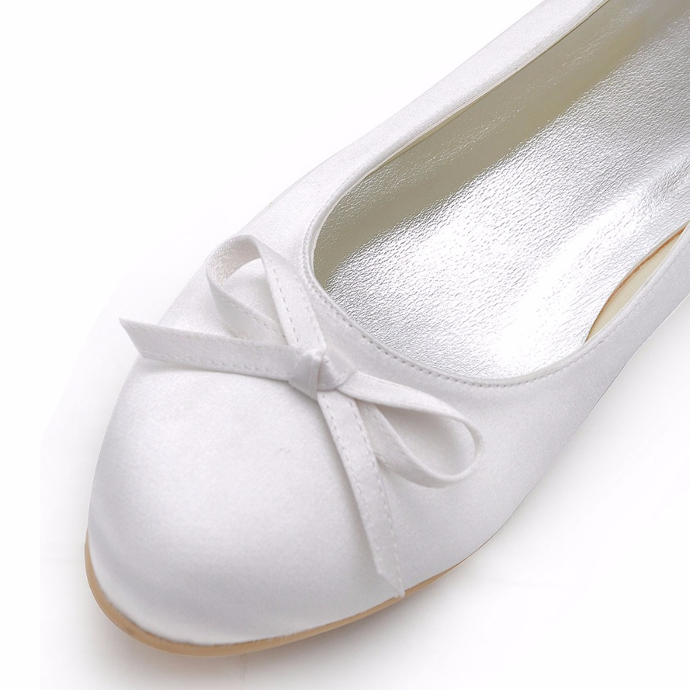 Woman Flats EP2135 White Ivory Round Toe Bow Comfort Birde Shoes ...