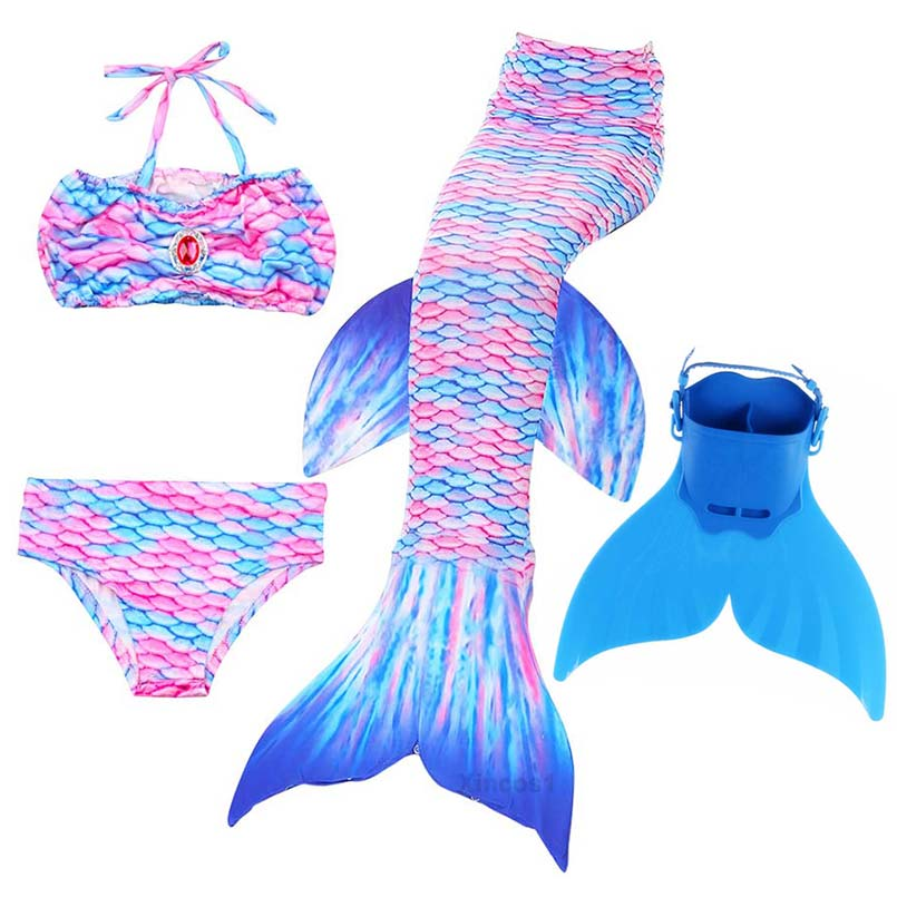 4PCS/Set Kids Swimming Mermaid Tail with Monofin Costume Cosplay Children Girls Clothing Ariel Mermaid Tails for Swimming Swim
