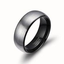 8 mm hombres Dome carburo de tungsteno anillo de promesa de compromiso Band Comfort Fit para hombre cepillo anillo