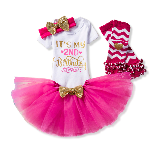 3def2adf81551 2 Years Baby Girl Clothing Sets Toddler Little Girls My 2nd Birthday  Outfits Tutu Baptism Clothes