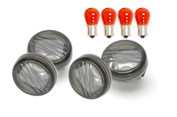 free shipping 4 PCS Smoke Turn Signal Lens Lenses With Amber Bulbs For 2006-2012 Suzuki Boulevard M109R (all Models)