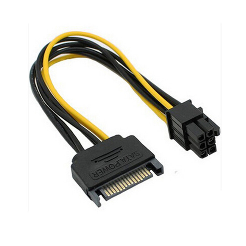 Factory Price NEW SATA Power Cable 15 Pin To 6 Pin PCI EXPRESS PCI-E Sata Graphics Converter Adapter Video Card Power Cab New