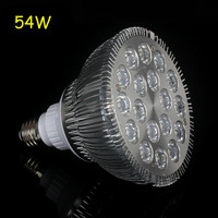 4pcs/lot E27 54W 18X3W 12Blue 6White LED Coral Reef Grow Light High Power Fish Tank Aquarium Light Lamp LED Bulbs 85V 265V