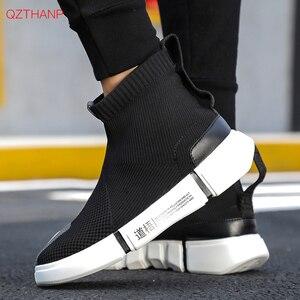 Image 4 - 2018 homens tênis casuais sapatos deslizamento em tenis masculino adulto meias calçado tecer malha respirável estilo masculino adulto leve