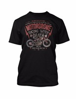 Famous Brand Design Summer New Print Man Cotton Fashion Motordrome Wall Of Death Indian Motorcycle Make
