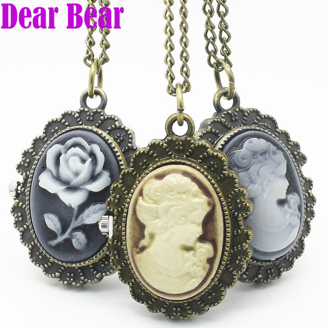 (4002) Wholesale Vintage Lady Cameo Pocket Watch Necklace pendant, 12pcs/lot, fr