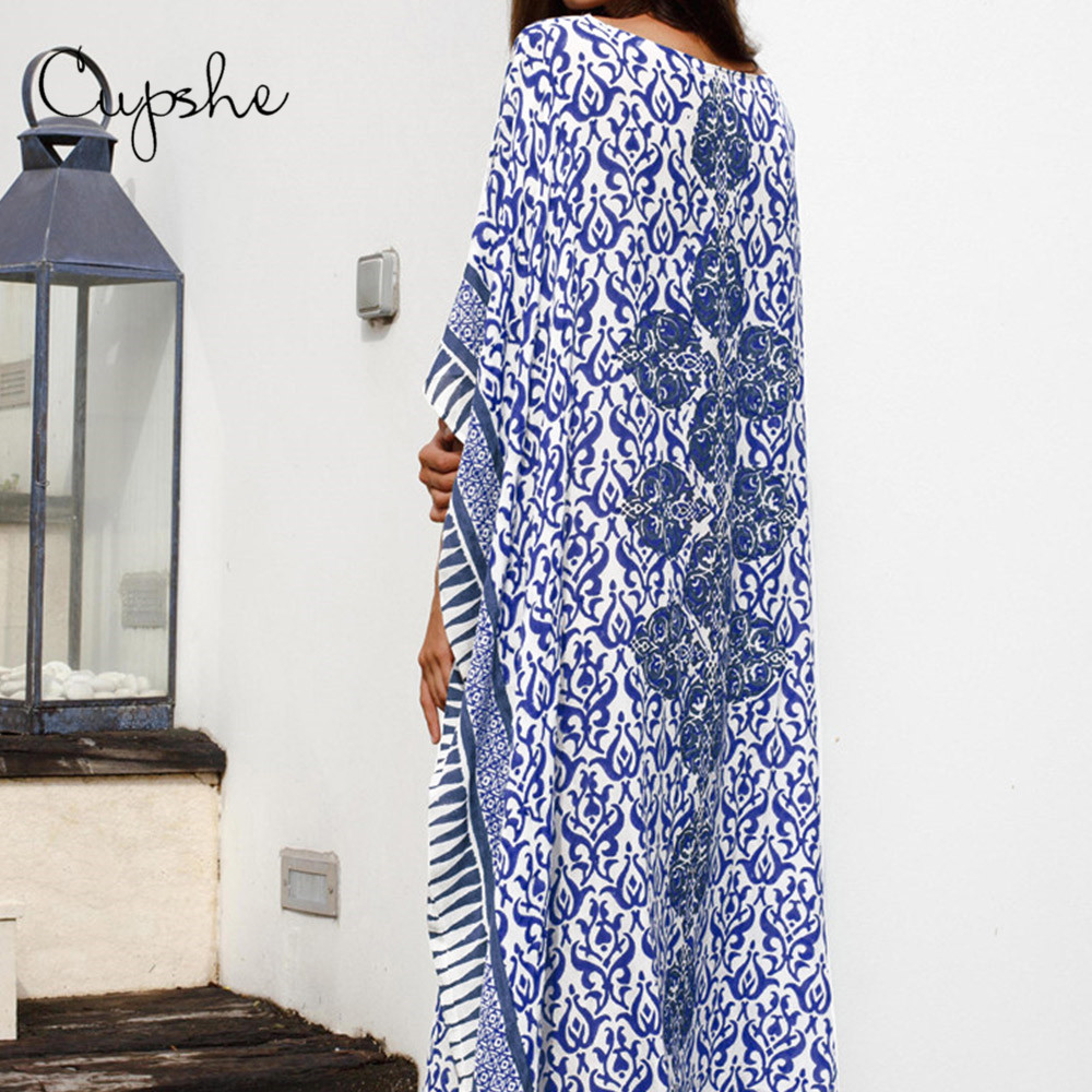 Image 3 - CUPSHE Sexy Off Shoulder Women Summer Long Dress 2020 Beach Geo Print Batwing Sleeve Loose Cover Up Vestidos Loose KaftanDresses   -
