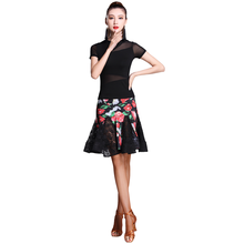 Fashion Short Sleeve Gauze Flower print Lace Sexy Latin Dance Skirt 2pcs set for women/female, Ballroom tango Costumes MD7132