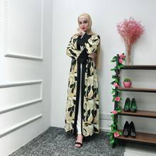 Elegant Muslim Print Abaya Floral Maxi Dress Cardigan Kimono Long Robe Gowns Tunic Jubah Middle East Ramadan Eid Arab Islamic(China)