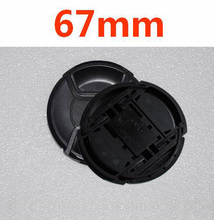 10 unids/lote 67mm pellizco central Snap on cap cover LOGO para nikon 67mm lente