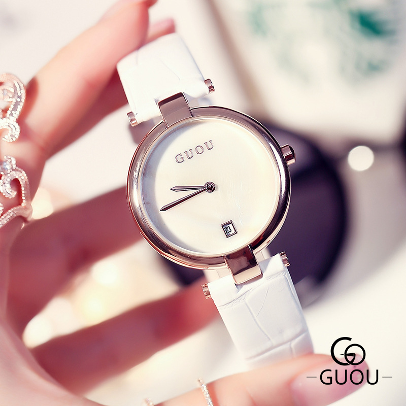 GUOU Fashion Dress Wrist Watch Women Watches Ladies Luxury Brand Famous Quartz Watch Female Clock Relogio Feminino Montre Femme newly design dress ladies watches women leather analog clock women hour quartz wrist watch montre femme saat erkekler hot sale