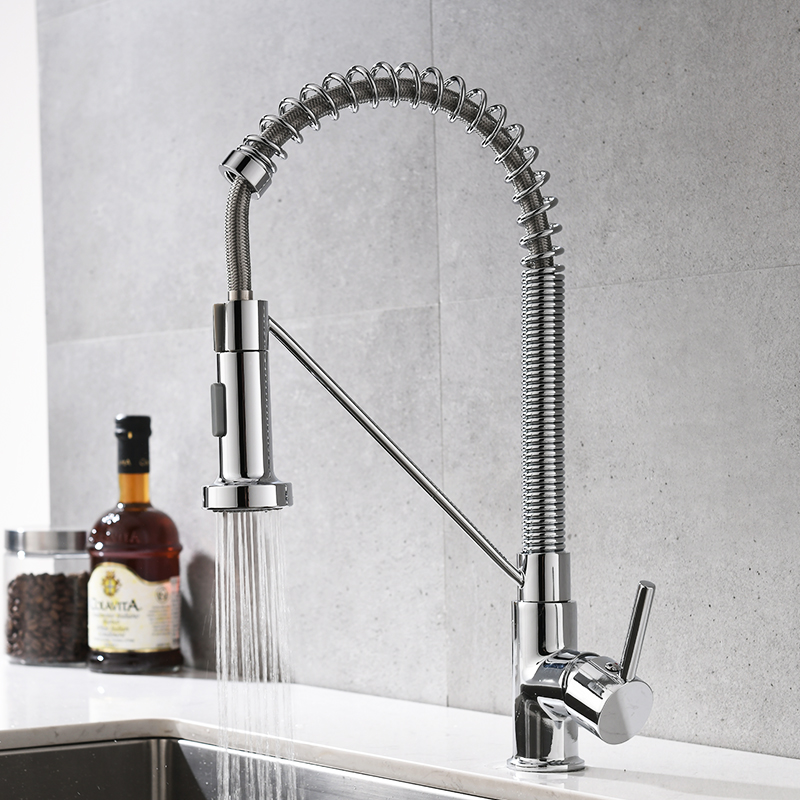 FLG Kitchen Faucets Brush Brass Faucets for Kitchen Sink Single Lever Pull Out Spring Spout Mixers Tap Hot Cold Water Crane 1009 in Kitchen Faucets from Home Improvement