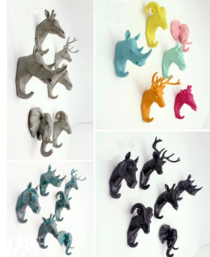 European Animal Head Hanging Creative Home Accessories Resin Coat Hooks  Decorative Wall Hooks Hanger