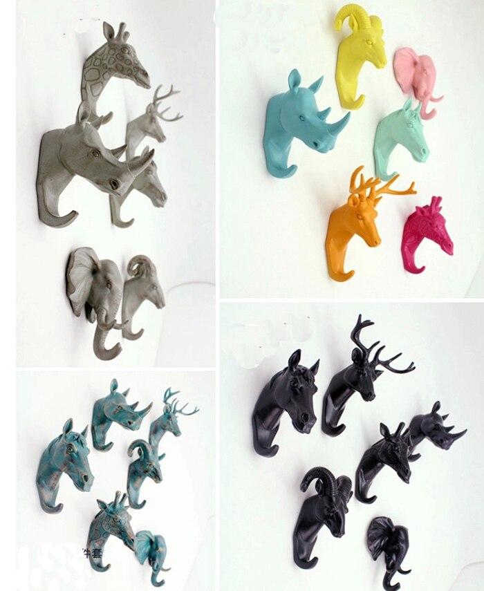 cabeza de animal colgante accesorios para el hogar creativo europeo resina percheros de pared decorativos ganchos