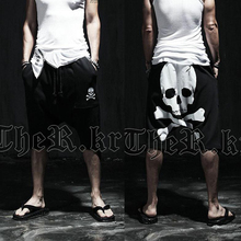 New 2020 summer skull male Calf-Length printed pants Mens slim Hip hop Short Pants Mid trousers Active casual Loose harem pants cheap I Fuyou Calf-Length Pants Flat Midweight Broadcloth PATTERN COTTON Polyester Drawstring Full Length