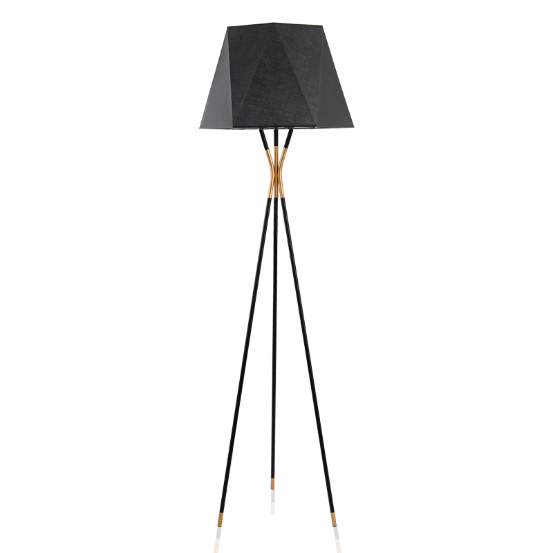 Post modern creative black metal geometric led floor lamp living room bedroom model room conical decorative standing lamp E27